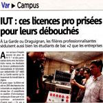 article Var Matin sur l'insertion des Licences Pro